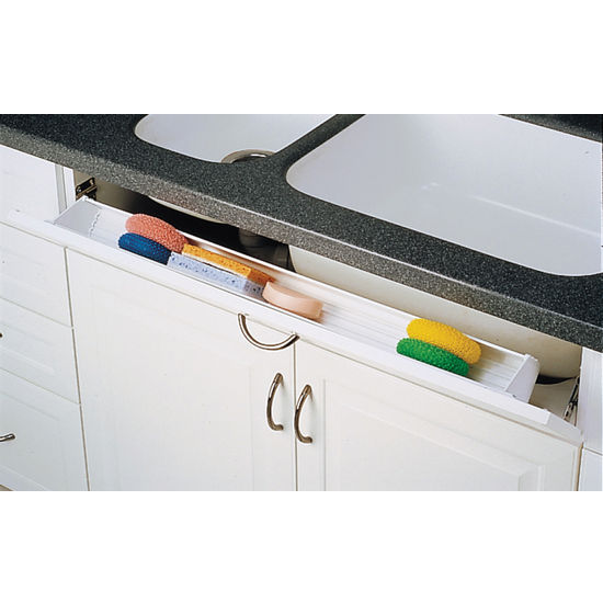 Cabinet Organizers Sink Front Tip Out Trays For Kitchen In White And Almond By Rev A Shelf Kitchensource