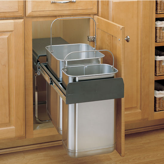 under kitchen sink trash can rev a shelf stainless steel sink base pull out waste 8702