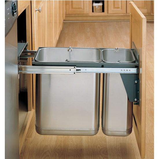 under kitchen sink garbage can rev a shelf stainless steel sink base pull out waste 8695