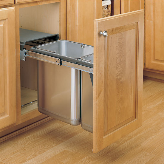 Rev a shelf stainless steel sink base pull out waste containers