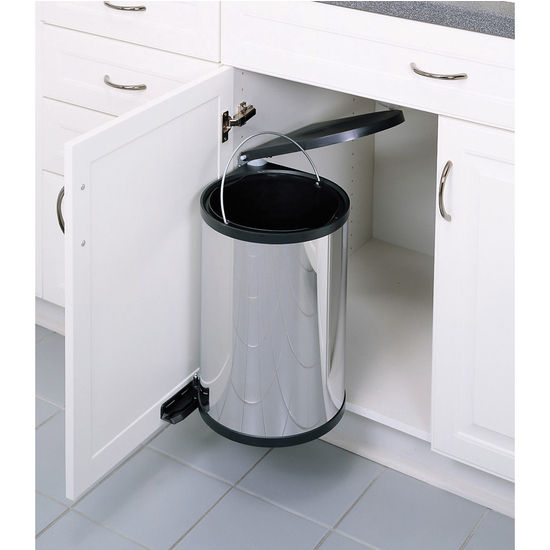 Rev A Shelf Pivot Out Round Waste Bin For Kitchen Or