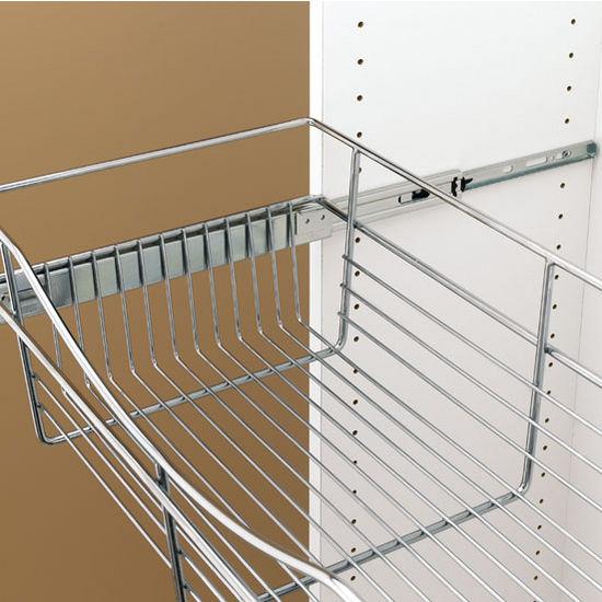 12 deep closet or kitchen cabinet heavy gauge pull out wire rh kitchensource com Chrome Sliding Laundry Baskets Under Cabinet Sliding Baskets
