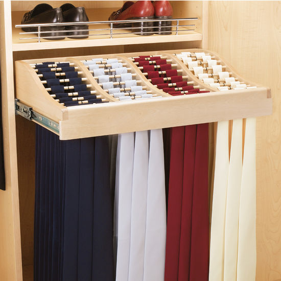 Rev A Shelf Wood Tie Rack W Full Extension Slides