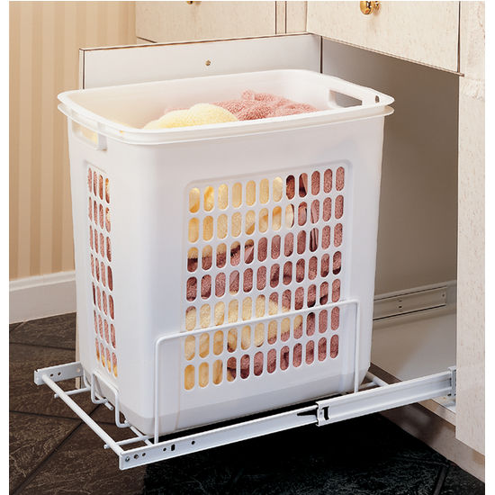 rev-a-shelf white pull-out polymer laundry hamper for vanity or Laundry Basket Cabinet