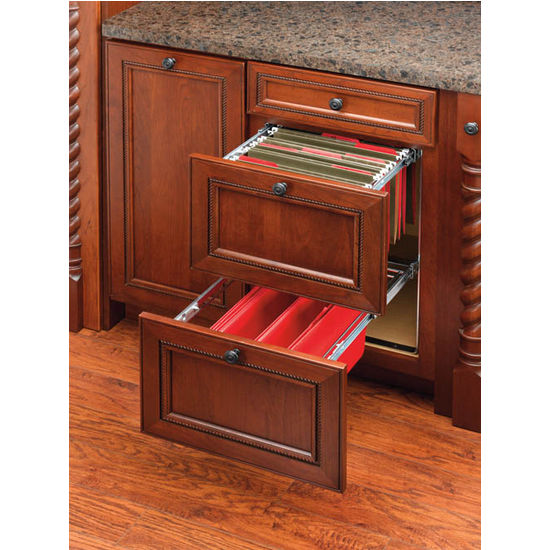 Kitchen Cabinet Drawer Kits: Two-Tier Pull-Out File Drawer System For Kitchen Or Desk