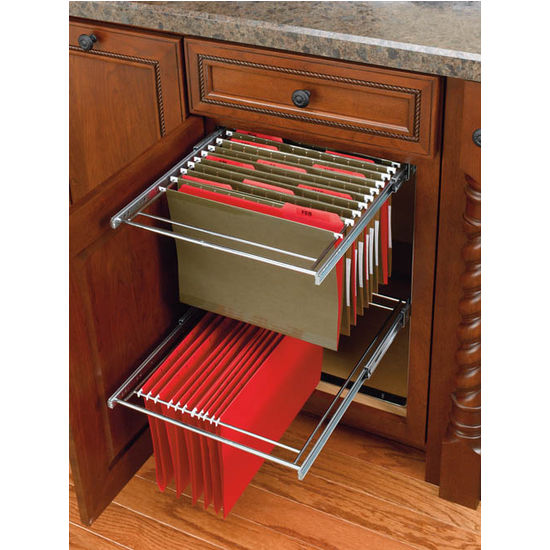 Shelf Two Tier Pull Out File Drawer System For Kitchen Or Desk Cabinet