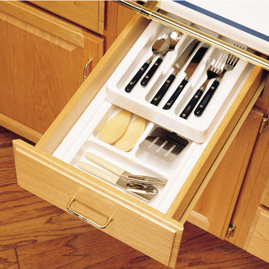 Cut-To-Size Insert Cutlery Organizer with Half Upper Rolling Tray for Drawers