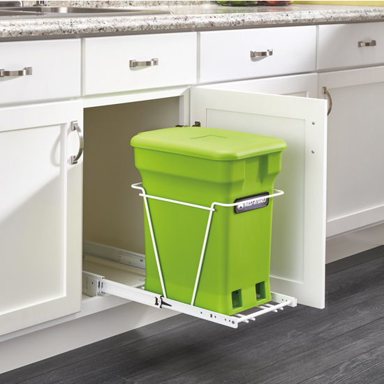 22 Birch Pull Out Shelf Kit One Shelf 1 4 Bottom: Bottom Mount Single Green Compost Bin Pull-Out With Rear