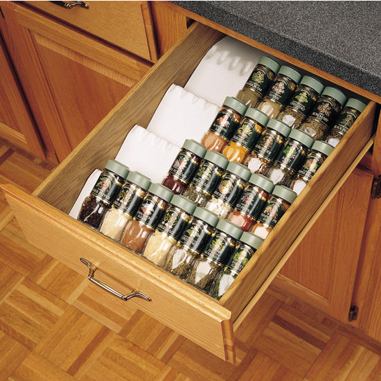 Drawer Organizers Trimmable Drawer Spice Tray By Rev A Shelf Cabinet Accessories Unlimited