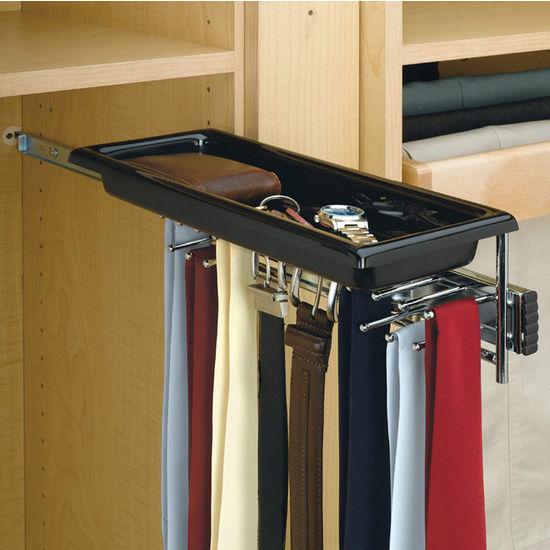 Best Tie Racks For Closets: Rev-A-Shelf Chrome Telescopic Tie And Belt Rack With