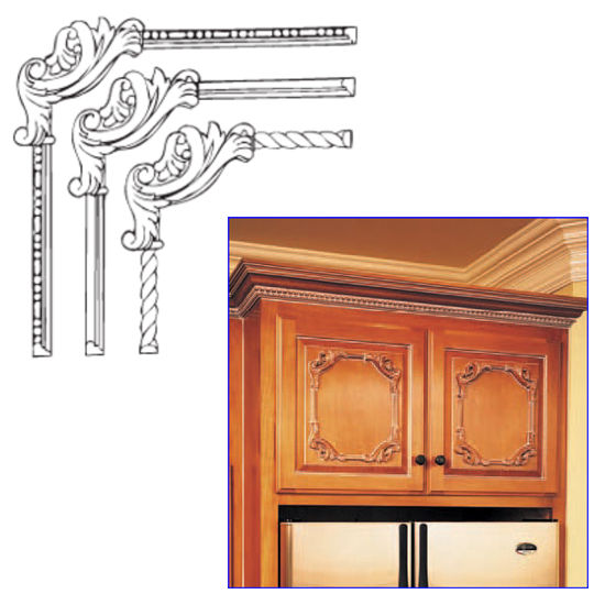 kitchen cabinet onlays decorative hardware clipped scroll corner onlays by white 19189