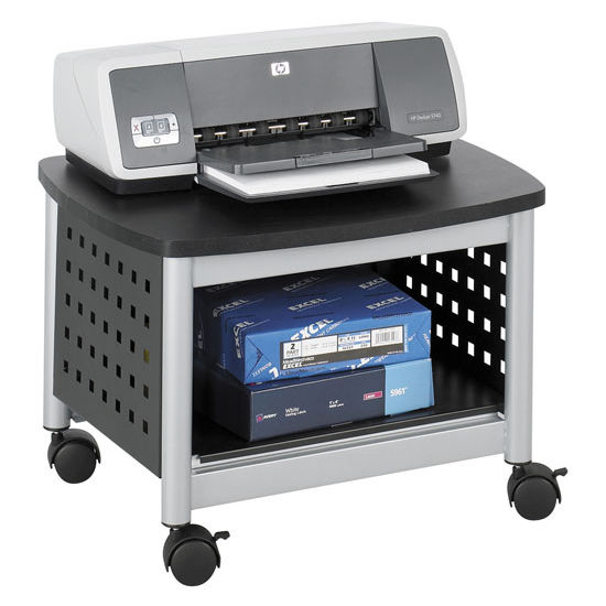 "Safco Scoot Underdesk Printer Stand, Black, 20-1/4""W x 16-1/2""D x 14-1/2""D"