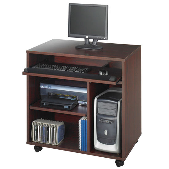 "Safco Ready-to-Use Computer Desk, Mahogany, 31-3/4""W x 19-3/4""D x 31-1/2""H"