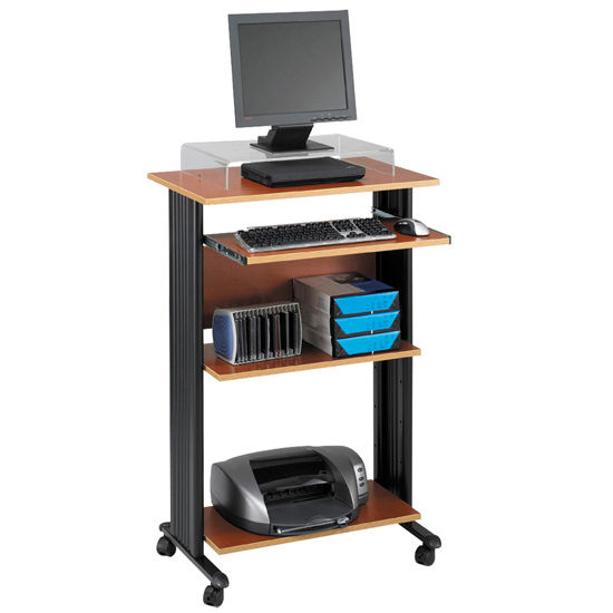 "Safco Muv Stand-Up Desk, Cherry, 29-1/2""W x 22""D x 45""H"