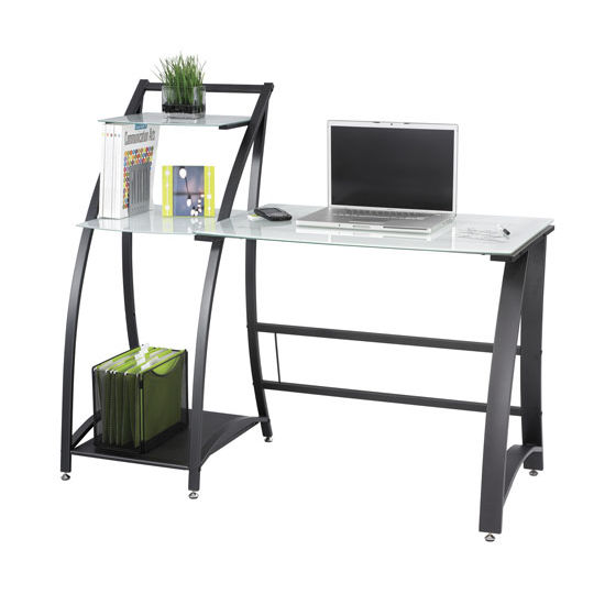 """Safco Xpressions Computer Desk, with Side Shelves, Tempered Glass, 53-1/4""""W x 23-1/4""""D x 45""""H"""