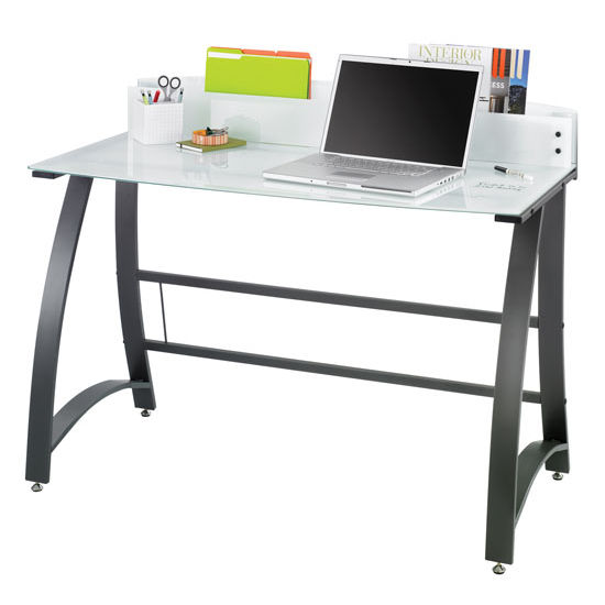"Safco Xpressions Computer Desk, Tempered Glass, 47""W x 23""D x 37""H"