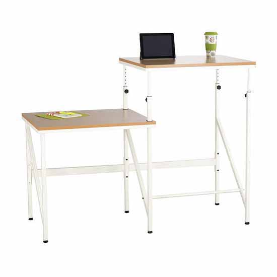 "Safco Elevate™ Bi-Level Standing-Height Desk, Beech, 57-1/2""W x 24""D x 38"" to 50""H"
