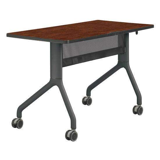 "Safco Rumba™ Rectangle Table, 48"" x 24"", Cherry Top/Black Base"