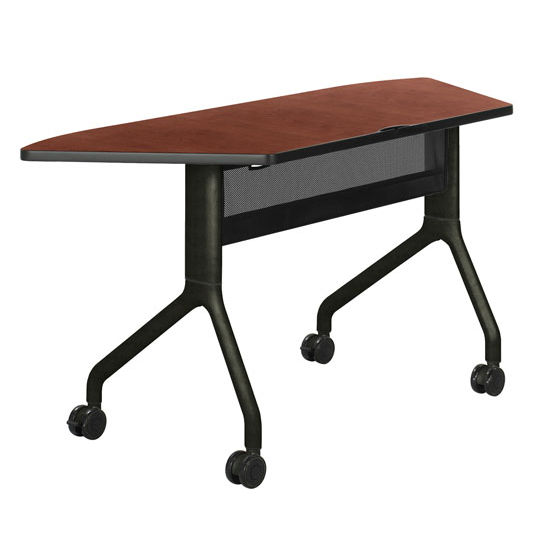"Safco Rumba Table, Trapezoid, Cherry Tabletop & Black Base, 60""W x 24""D x 29-1/2""H"
