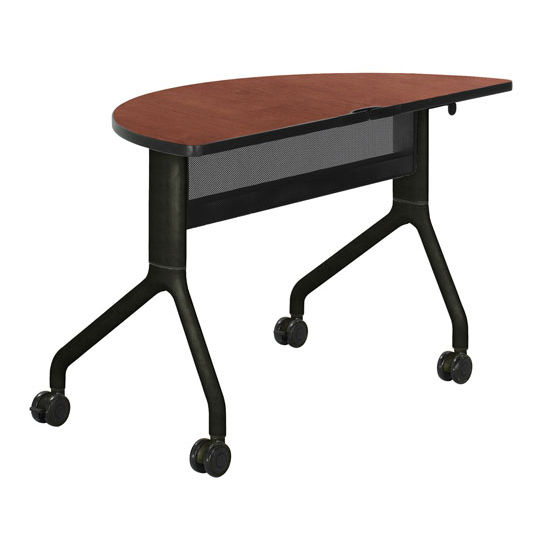 "Safco Rumba Table, Half Round, Cherry Tabletop & Black Base, 48""W x 24""D x 29-1/2""H"