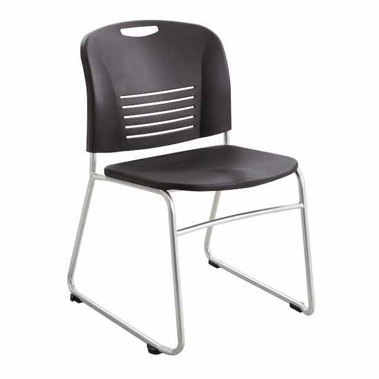 "Safco Vy™ Sled Base Chair, Black, 22-1/2""W x 19-1/2""D x 32-1/2""H - Set of 2 Chairs"