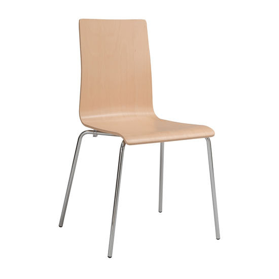 Safco Bosk™ Wood Stack Chair, Beech, Pair