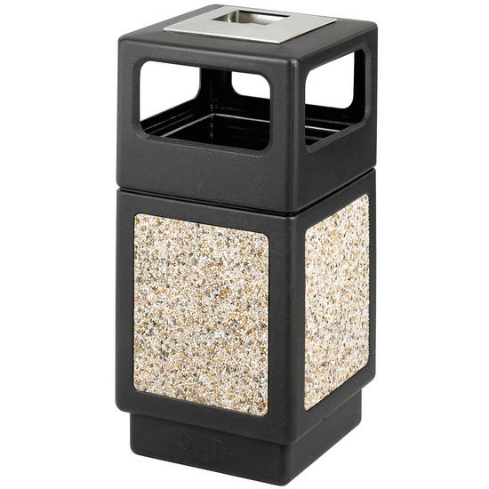 Safco® CanMeleon™ 38-Gallon Side Opening Outdoor Trash Can w/ Urn