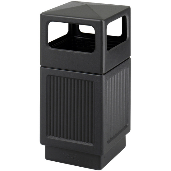 Trash Can 38 Gallon Side Opening Plastic Outdoor Trash Can From Safco