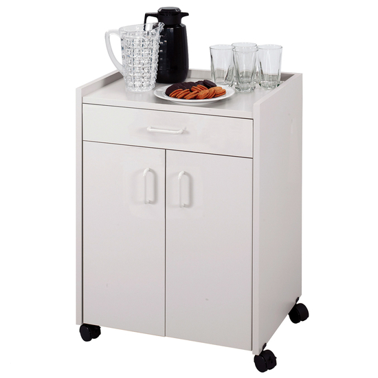 Safco Wood Mobile Refreshment Center/Machine Cart with Drawer