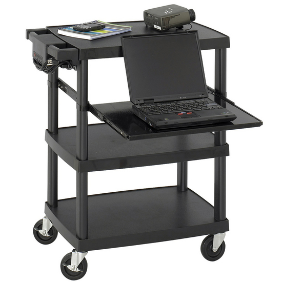 Safco Multimedia Projector Cart with Pull-Out Shelf