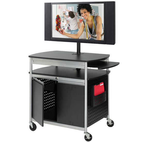 Safco Scoot Flat Panel Multimedia Cart with Doors