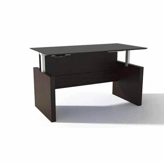 Safco Medina™ Height-Adjustable Straight Front Desk, Mocha Laminate