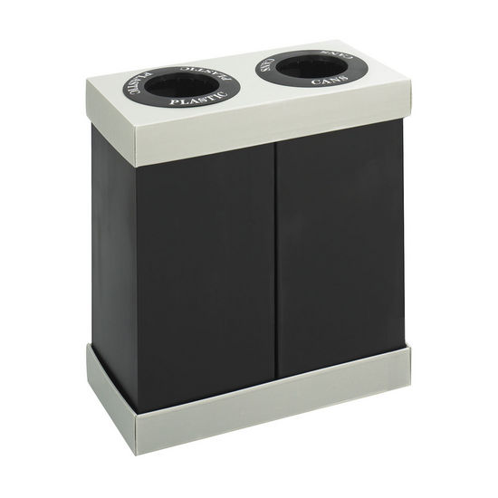 Safco � Double Bin At-Your-Disposal� Recycling Center, Black, 2 - 28 Gallon Bins