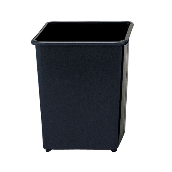 Safco ® Square Wastebasket, Powder Coated Black, 8 Gallon, Set of 3