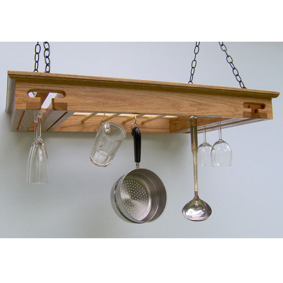 Wine Glass Pot Rack, Red Oak
