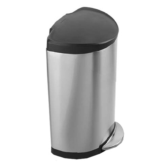 Simplehuman Plastic Lid Stainless Steel Semiround Step Can
