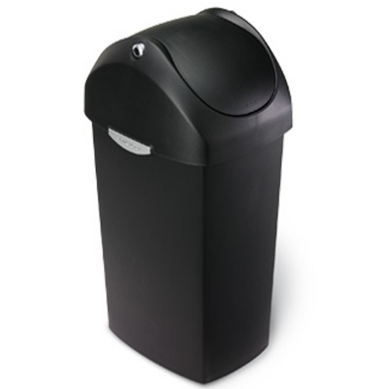 Simplehuman - 16 Gal. Swing Lid Plastic Can in Black