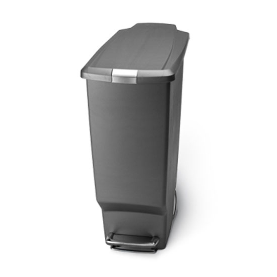 Trash Cans Slim Plastic 10 5 Gallon Step Can With Locking Lid And Wheels In Black White Or
