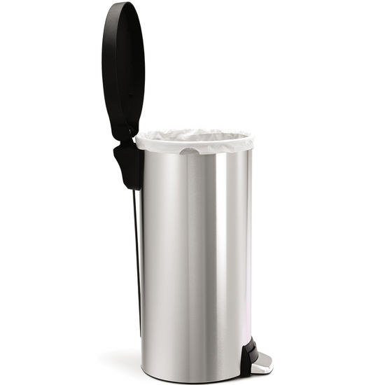 simplehuman Round Step Trash Can, Fingerprint-proof Brushed Stainless Steel with Plastic Lid, 30 Liters/ 8 Gallons