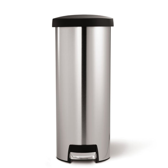 simplehuman Slim Step Trash Can, Fingerprint-proof Brushed Stainless Steel with Plastic Lid, 45 Liters/ 12 Gallons