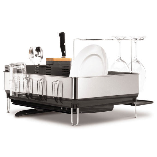 simplehuman � Steel Frame Dishrack with Wine Glass Holder, Grey