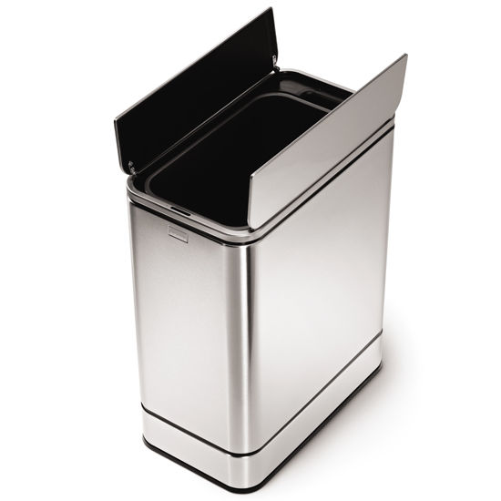 trash can simplehuman butterfly sensor trash can fingerprint proof brushed stainless steel. Black Bedroom Furniture Sets. Home Design Ideas