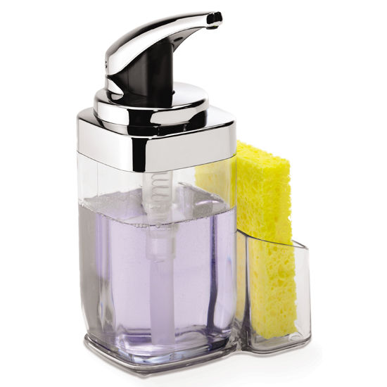simplehuman Square Push Pump with Caddy, Chrome, 22 fl. oz.
