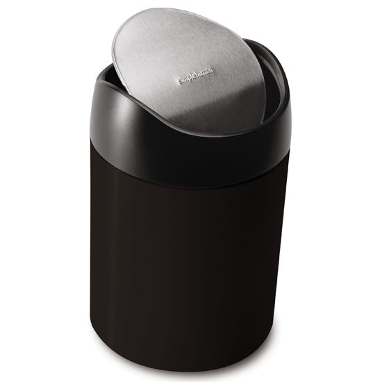 simplehuman Countertop Trash Can, Black Steel, 0.4 Gallon (1.5L)