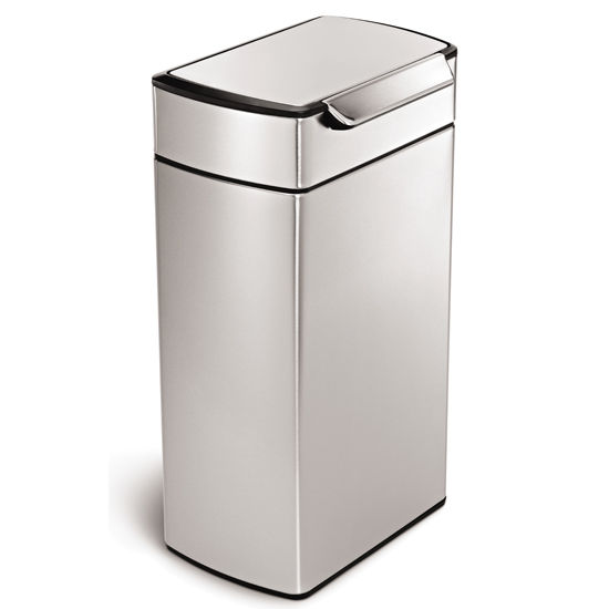 simplehuman Rectangular Touch Bar Trash Can, Fingerprint-Proof Brushed Stainless Steel, 10.5 Gallon (40L)