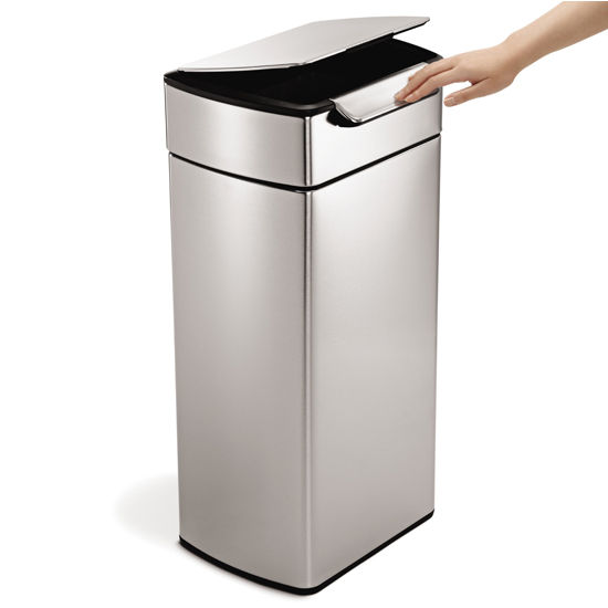 Trash can simplehuman rectangular touch bar trash can fingerprint proof brushed stainless - Rectangular garbage cans ...