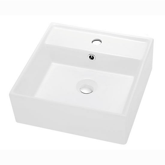 """Dawn Sinks® Bathroom Vessel Above Counter Square Ceramic Art Basin with Single Hole for Faucet and Overflow in White, 16-1/8"""" W x 16-1/8"""" D x 5-5/8"""" H"""