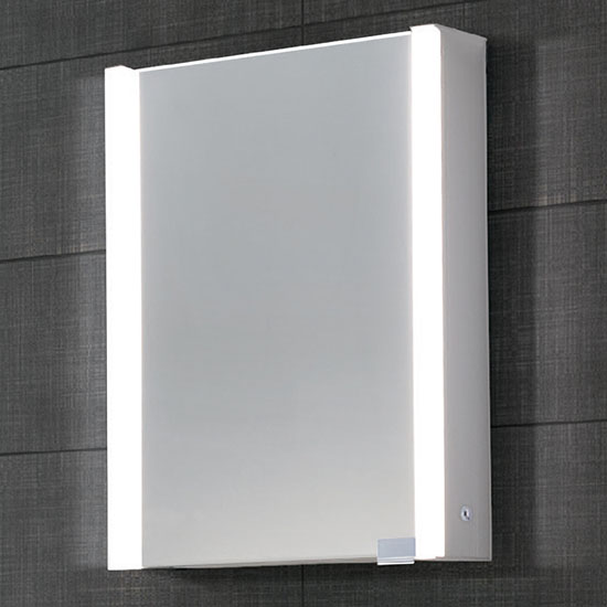 "Dawn Sinks LED Backlit Vertical Single Door Medicine Cabinet with Matte Aluminum Mirror, 21-5/8"" W x 5-5/16"" D x 27-9/16""H"