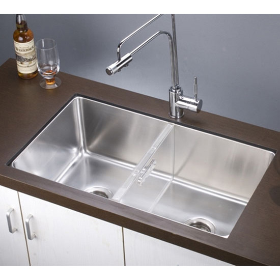 Dawn Sinks 16 Gauge 32u0027u0027W Stainless Steel Undermount Single To Double  Combination Bowl