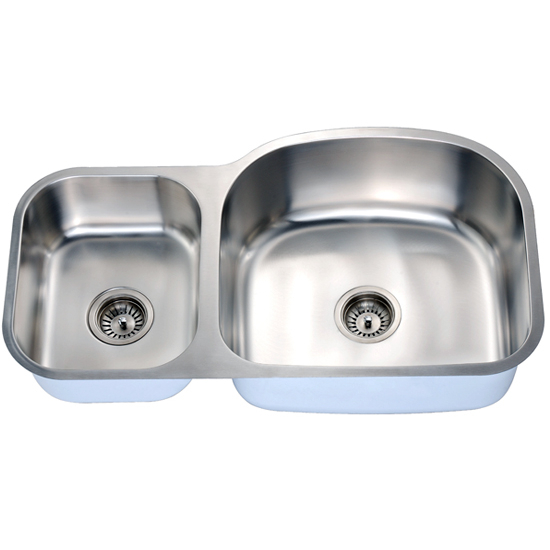 Economy Series 18-Gauge Stainless Steel Double Oval Bowl Undermount Sink Small Bowl on Left